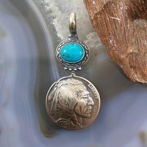 Sterling Silver Turquoise W/Buffalo Nickel Indian